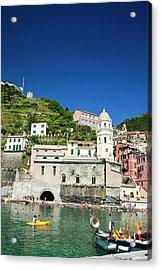 Europe Italy Vernazza City And Church Acrylic Print