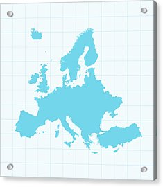 Europe Map On Grid On Blue Background Acrylic Print by Iconeer