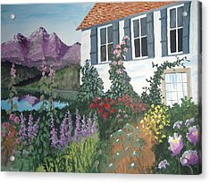 Acrylic Print featuring the painting European Flower Garden by Norm Starks