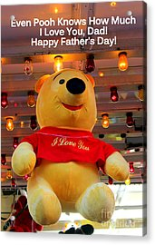 Even Pooh Knows Card Acrylic Print
