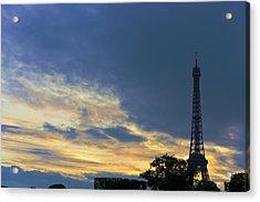 Evening By The Eiffel Tower Acrylic Print by Maj Seda
