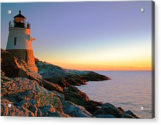 Evening Calm At Castle Hill Lighthouse Acrylic Print by Roupen  Baker