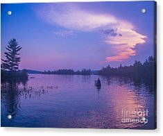 Evening Canoeing  Acrylic Print by Alana Ranney
