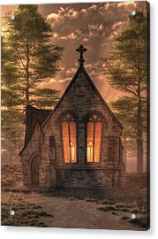 Evening Chapel Acrylic Print by Christian Art