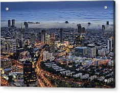 Acrylic Print featuring the photograph Evening City Lights by Ron Shoshani
