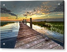 Evening Dock Acrylic Print by Debra and Dave Vanderlaan