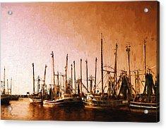 Shrimp Boats - Dock - Coastal - Evening Dockside Acrylic Print by Barry Jones