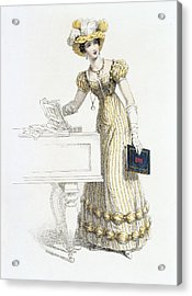 Evening Dress, Fashion Plate Acrylic Print by English School