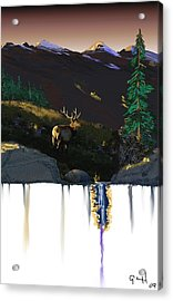 Evening Elk Acrylic Print