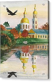 Evening Gong Of The Russian Church Acrylic Print by Margaryta Yermolayeva