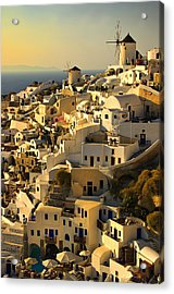 evening in Oia Acrylic Print by Meirion Matthias