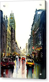 Acrylic Print featuring the painting Evening In The City by Steven Ponsford