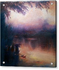 Acrylic Print featuring the painting Evening Light by Rosemarie Hakim