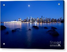 Evening Moon Over Vancouver Harbour 1 Acrylic Print by Terry Elniski