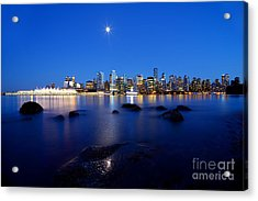 Evening Moon Over Vancouver Harbour 2 Acrylic Print by Terry Elniski
