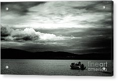Acrylic Print featuring the pyrography Evening On The Lake by Evgeniy Lankin