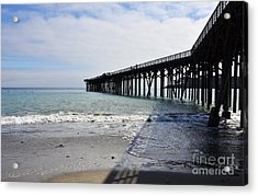Acrylic Print featuring the photograph Evening Pier Shadows Are Lost In The Surf by Debby Pueschel