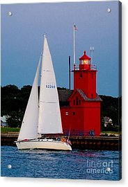 Evening Sail At Holland Light Acrylic Print by Nick Zelinsky