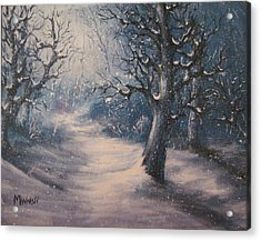 Evening Snow Acrylic Print by Megan Walsh