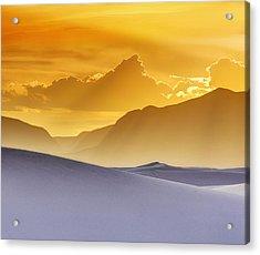 Evening Stillness - White Sands Sunset - Duvet Acrylic Print by Nikolyn McDonald
