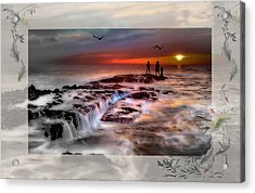 Evening Stroll At The Beach -featured In 'cards For All Occasions'comfortable Art'  'digital Veil Acrylic Print by EricaMaxine  Price