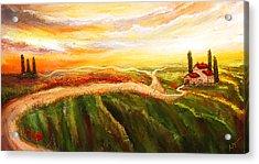 Evening Sun - Glowing Tuscan Field Paintings Acrylic Print