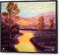 Evening Sun Sets Over A Lake Somewhere Off The Gulf Of Mexico Acrylic Print by Kimberlee Baxter