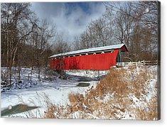 Everett Rd. Covered Bridge Acrylic Print by Daniel Behm