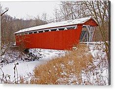 Everett Rd. Covered Bridge In Winter Acrylic Print