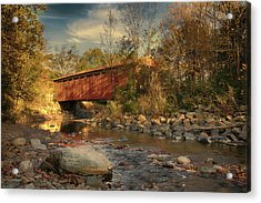 Everett Rd Summit County Ohio Covered Bridge Fall Acrylic Print