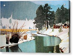 Evergreen Lake Winter Acrylic Print