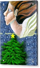 Everseeing Christmas Angel Acrylic Print by Genevieve Esson