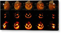 Acrylic Print featuring the sculpture Evil Flippy Pumpkin by Shawn Dall