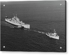 Ex-uss Vincennes Is Towed Out Of San Acrylic Print by Stocktrek Images