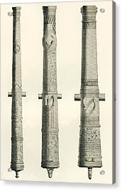 Examples Of Cannons. From Left To Right, A German Nachtigall Cannon Cast In Brunswick, Germany Acrylic Print by Bridgeman Images