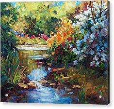 Exbury Spring Lake Acrylic Print by David Lloyd Glover