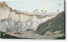 Excavations Of A Thick Stratum Of Lava Acrylic Print by Pietro Fabris