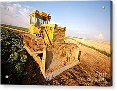 Excavator Working Acrylic Print by Michal Bednarek