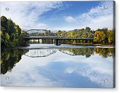 Acrylic Print featuring the photograph Exchange St. Bridge Rock Bottom Dam Binghamton Ny by Christina Rollo