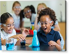 Excited School Girls During Chemistry Experiment Acrylic Print by Steve Debenport