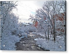 Exeter River With Snow And Ice Acrylic Print