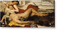 Exhausted Maenides Acrylic Print by Sir Lawrence Alma Tadema