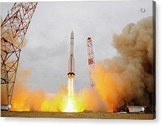 Exomars Spacecraft Launch Acrylic Print by European Space Agency/stephane Corvaja