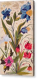Exotic Flowers With Insects Acrylic Print by Mughal School
