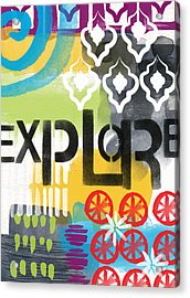 Explore- Contemporary Abstract Art Acrylic Print by Linda Woods