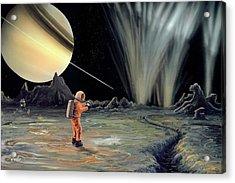 Exploring Enceladus Acrylic Print by Richard Bizley