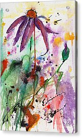 Expressive Purple Coneflower Watercolor And Ink Painting Acrylic Print