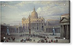 Exterior Of St Peters In Rome From The Piazza Acrylic Print
