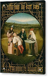 Extracting The Stone Of Madness Acrylic Print by Hieronymus Bosch