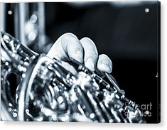 Extreme Close Up Of Fingering Of French Horn Acrylic Print